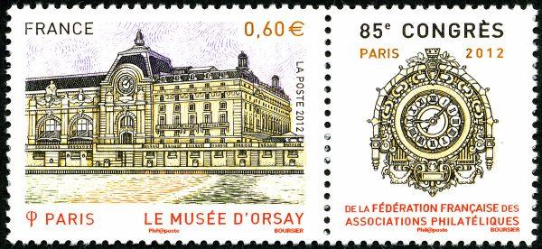 France. 85ème congrès de la FFAP, Paris 2012. Le musée d'Orsay, 2012 (création et gravure de Louis Boursier, impression taille-douce) (© La Poste / L. Boursier)