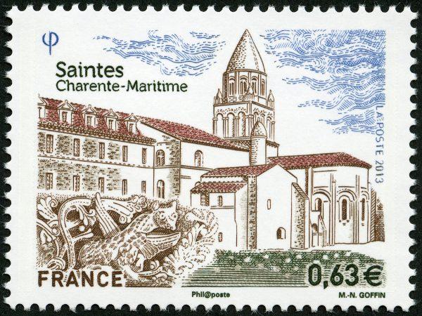 Saintes, Charente-Maritime, 2013 (dessin et gravure de Marie-Noëlle Goffin impression taille-douce) (© La Poste / MN. Goffin)