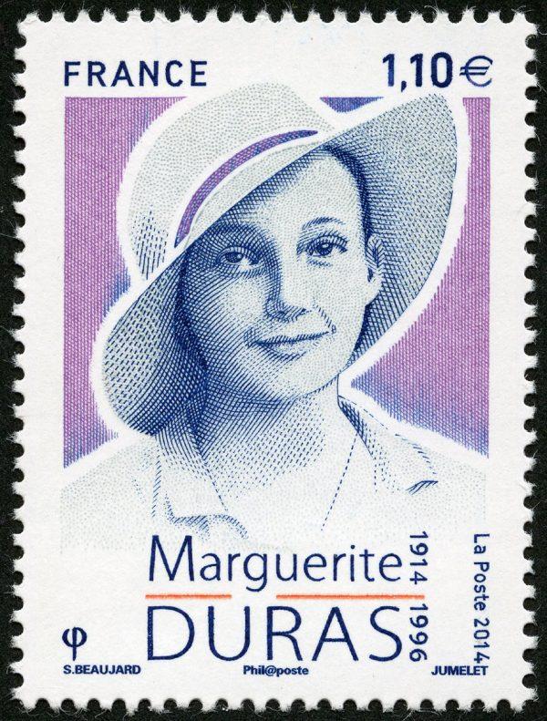 Marguerite Duras, 2014 (création de Sophie Beaujard, gravure de Claude Jumelet, impression taille-douce) (© La Poste / S. Beaujard / C. Jumelet)