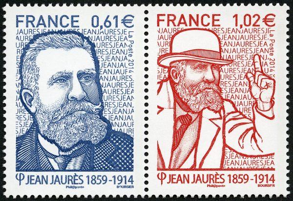 France. Jean Jaurès, 2014 (création et gravure de Louis Boursier, impression taille-douce) (© La Poste / L. Boursier)