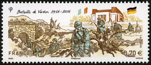 Le timbre « Bataille de Verdun 1916 – 2016 » a été élu le plus beau timbre de l'année 2016 (dessin de Maël, gravure d'Elsa Catelin, impression taille-douce)