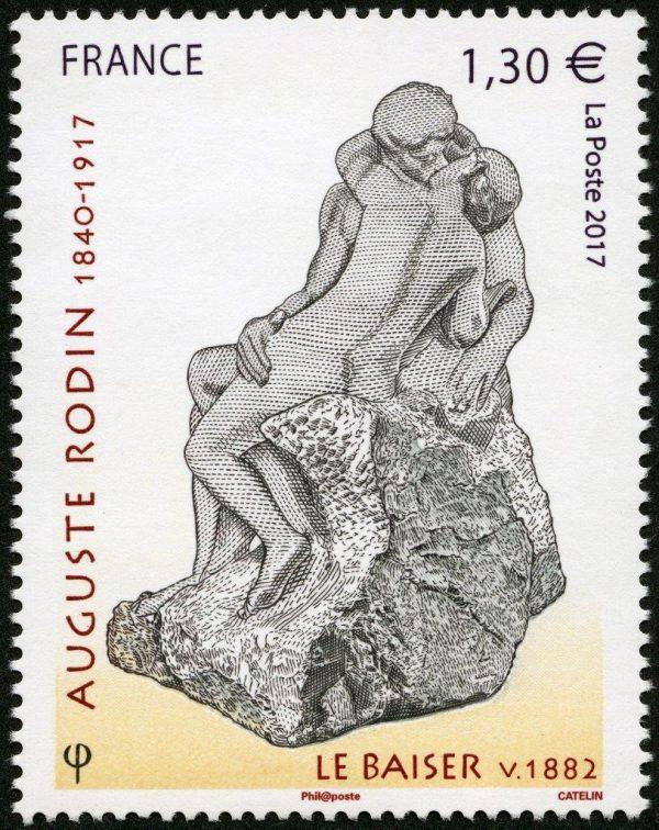 """France. Auguste Rodin, """"le baiser, vers 1882"""", 2017 (création et gravure d'Elsa Catelin, impression taille-douce) (© La Poste / Musée Rodin / E. Catelin)"""