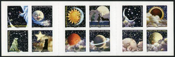 France. Correspondances planétaires, carnet de timbres autoadhésifs, 2016 (création de Guy Coda, impression héliogravure). Trophée du carnet de l'année 2016 (© La Poste / G. Coda)