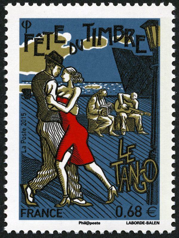 France : Fête du timbre. Le tango, 2015 (dessin et gravure de Christophe Laborde-Balen, impression taille-douce) (© La Poste / C. Laborde-Balen)