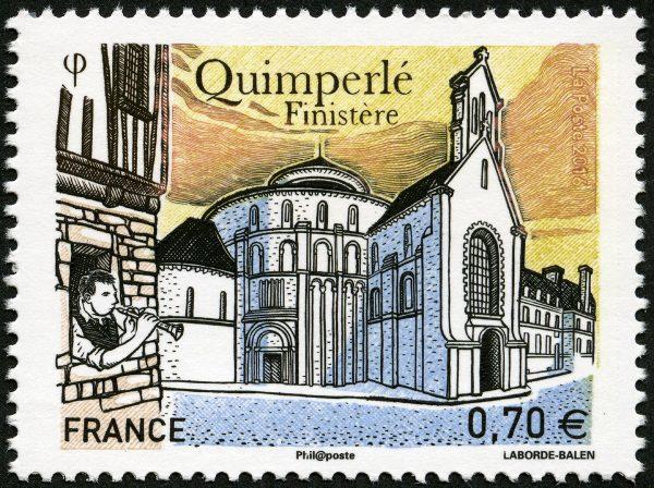 Quimperlé, Finistère, 2016  (dessin et gravure de Christophe Laborde-Balen, impression taille-douce) (© La Poste / C. Laborde-Balen)