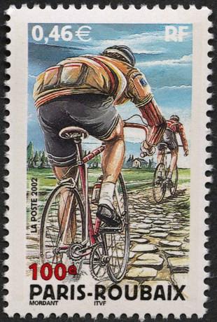 France. Centenaire de la course cycliste Paris-Roubaix, 2002 (création de Thierry Mordant, impression héliogravure) (© La Poste / T. Mordant)