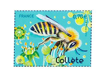France. « La collète », Abeilles solitaires, série Nature de France 2016 (création d'Isabelle Simler, impression offset) (© La Poste / I. Simler)