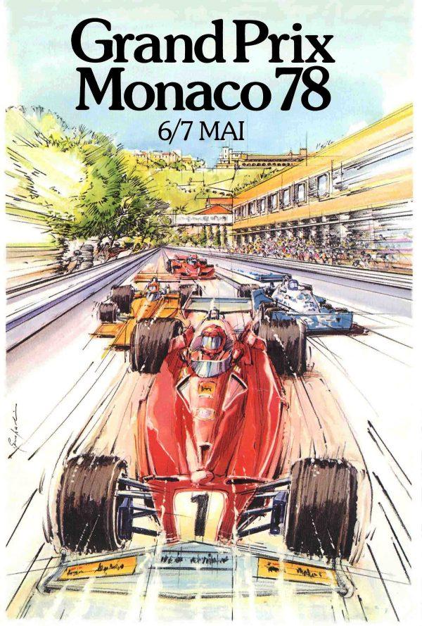Alain Giampaoli, Affiche officielle Grand Prix de Monaco, aquarelle et crayons, 1978 (© A. Giampaoli)