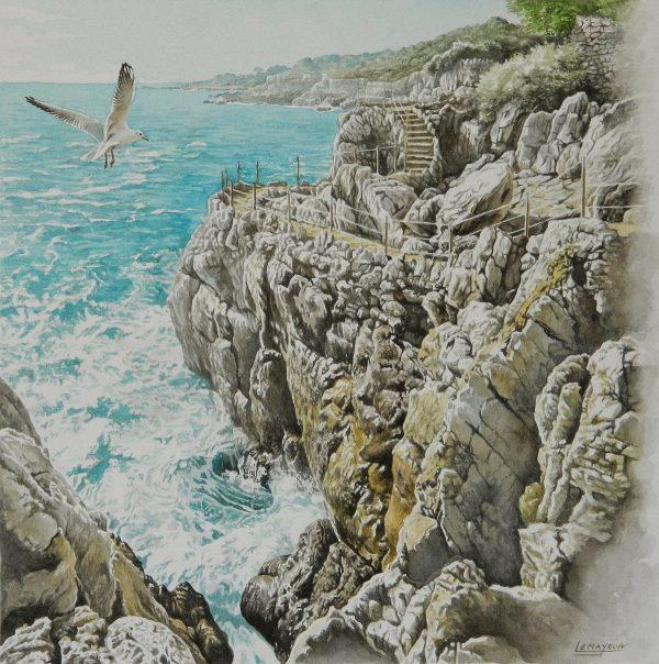 Bernard Alunni et Marie-Christine Lemayeur, Cap d'Antibes pour le livre « Sur les sentiers du littoral de la Côte d'Azur », aquarelle, 2015 (© Alunni-Lemayeur)