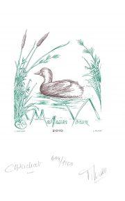 Canard, vœux 2010, gravure n° 10 - 2009 (dessin : Perchat Claude et gravure : Filhon Line)