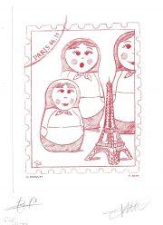 Poupées russes, gravure n° 11 - 2010 (dessin : Bosquet Gilles et gravure : Bara Pierre)
