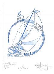 La mer, vœux 2011, gravure n° 12 - 2010 (dessin : Oliviéro Jean-Jacques et gravure : Vigoureux Guy)