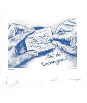 Gravure d'un poinçon, gravure n° 14 - 2011 (dessin : Derible Patrick et gravure : Albuisson Pierre)