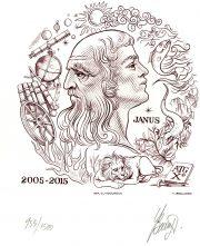 10 ans de l'ATG, Janus, gravure n° 18 - 2015 (dessin et gravure : Beaujard Yves)