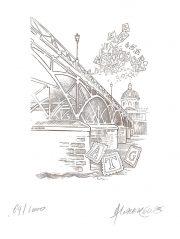 Pont des arts, Paris, gravure n° 2 - 2005 (dessin et gravure : Lavergne André)