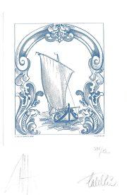 Bateau, gravure n° 9 - 2009 (dessin : De La Patellière et gravure : Catelin Elsa)