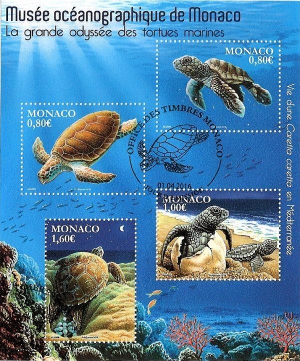 Monaco. Musée océanographique de Monaco. Les tortues marines, 2016  (création de Bernard Alunni et Marie-Christine Lemayeur, impression héliogravure et vernis sélectif 3D). Bloc-feuillet. (© Monaco OETP / Alunni-Lemayeur)