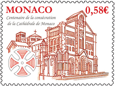 Monaco. Centenaire de la consécration de la cathédrale de Monaco, 2011 (création de Fabrice Monaci, gravure d'André Lavergne, impression taille-douce) (© Monaco OETP / F. Monaci / A.Lavergne)