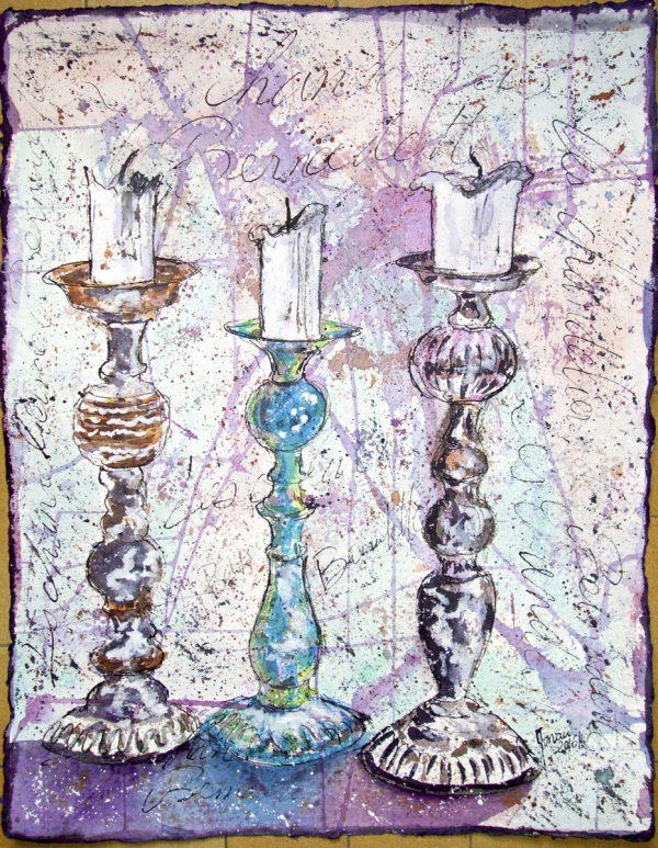 Fabrice Monaci, Les chandeliers, plume et aquarelle, sur papier fabriqué à la main, 50 x 65 cm, 2016 (© F. Monaci)