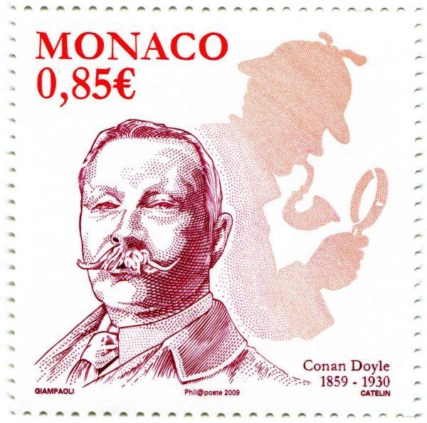 Monaco. Arthur Conan Doyle, 2009 (création d'Alain Giampaoli, gravure d'Elsa Catelin, impression taille-douce) (© Monaco OETP / A. Giampaoli / E. Catelin)