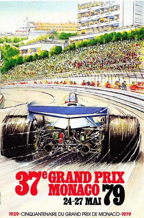Alain Giampaoli, Affiche officielle Grand Prix de Monaco, aquarelle et crayons, 1979 (© A. Giampaoli)