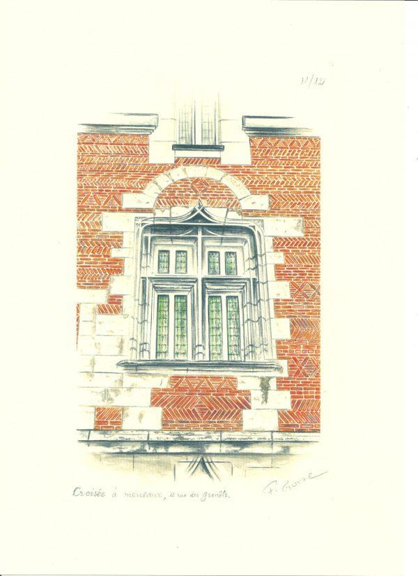 François Guiol, Fenêtre d'une vieille maison : croisée à meneaux, aquarelle, 2012 (© F. Guiol)