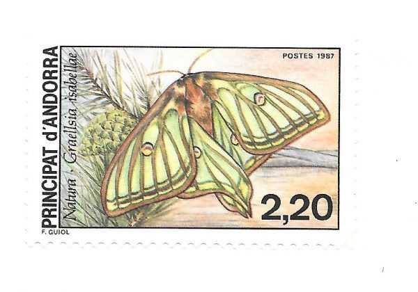 Andorre. Nature : papillon Graellsia isabellae, 1987 (création de François Guiol, impression offset) (© Andorre / F. Guiol)