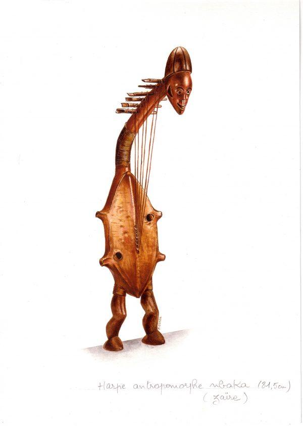 François Guiol, Instrument de musique traditionnelle : harpe anthropomorphe nbaka (Zaïre), encre, 2005 (© F. Guiol)