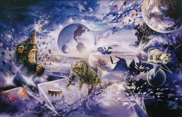 Thierry Mordant, Humanland. Nos amis du cirque, peinture acrylique sur toile, 165 x 100 cm, 2000 (© T. Mordant)
