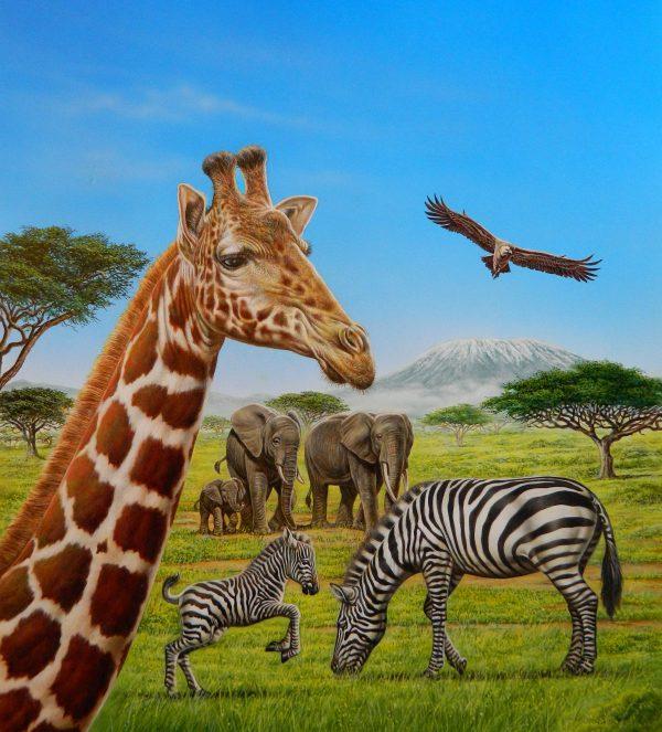 Bernard Alunni-Marie-Christine Lemayeur, illustration pour le livre jeunesse « Les animaux de la savane », éditions Fleurus enfants, acrylique, 2014 (© Alunni-Lemayeur)