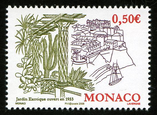 Monaco. 75ème anniversaire de la création du Jardin exotique, 2008 (création de Fabrice Monaci, gravure d'André Lavergne, impression taille-douce) (© Monaco OETP / F. Monaci / A. Lavergne)