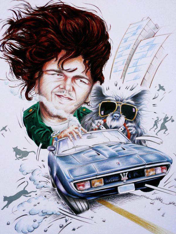 Alain Giampaoli, Jean Baptiste, sa voiture et son chien, gouache et crayons couleurs, 2008 (© A. Giampaoli)