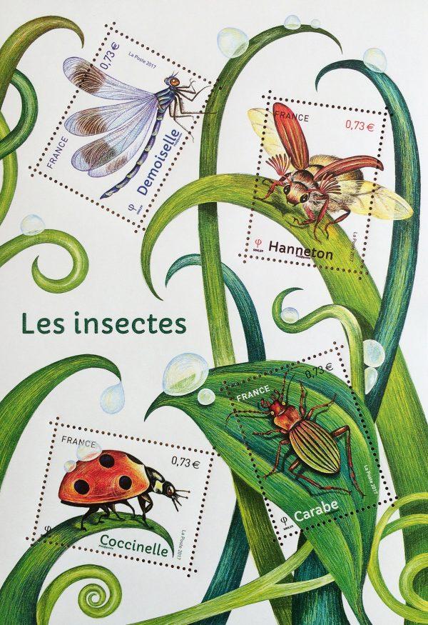 France. Insectes de nos jardins, série Nature de France, 2017 (création d'Isabelle Simler, impression héliogravure) (© La Poste / I. Simler)