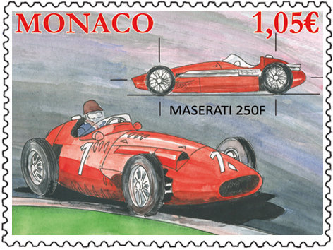Monaco. Sport automobile. Maserati 250F, 2013 (création de Fabrice Monaci, impression offset) (© Monaco OETP / F. Monaci)