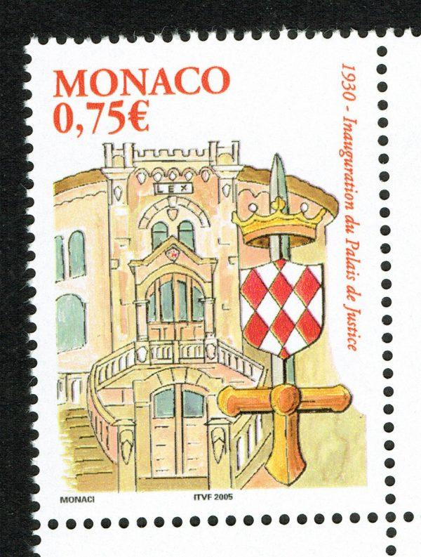 Monaco. 75 ans du Palais de Justice, 2004 (création de Fabrice Monaci, impression héliogravure) (© Monaco OETP / F. Monaci)