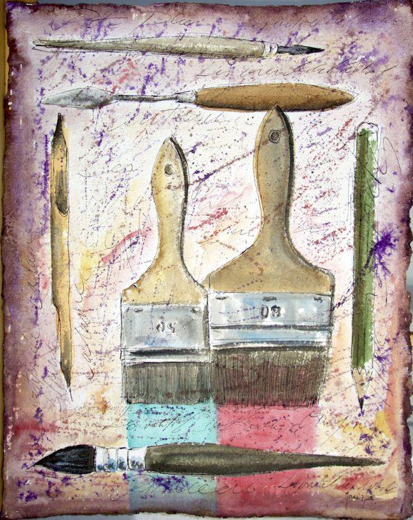 Fabrice Monaci, Les outils du peintre, technique mixte : aquarelle et encre de Chine, sur papier fabriqué à la main, 50 x 65 cm, 2016 (© F. Monaci)
