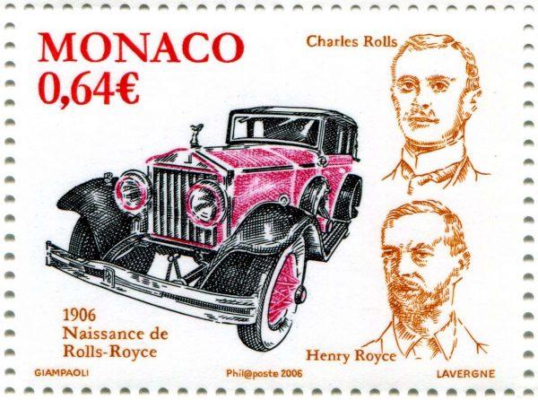 Monaco. Centenaire de la voiture Rolls-Royce, 2006 (création d'Alain Giampaoli, gravure d'André Lavergne, impression taille-douce) (© Monaco OETP / A. Giampaoli / A. Lavergne)