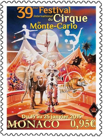 Monaco. 39ème Festival international du cirque de Monte-Carlo, 2015 (création de Thierry Mordant, impression héliogravure) (© Monaco OETP / T. Mordant)