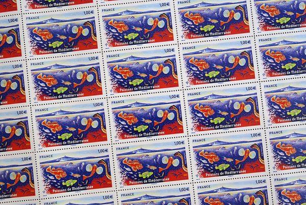 France. Euromed postal. Poissons de la mer Méditerranée, 2016 (création d'Isabelle Simler, impression héliogravure) (© La Poste / I. Simler)