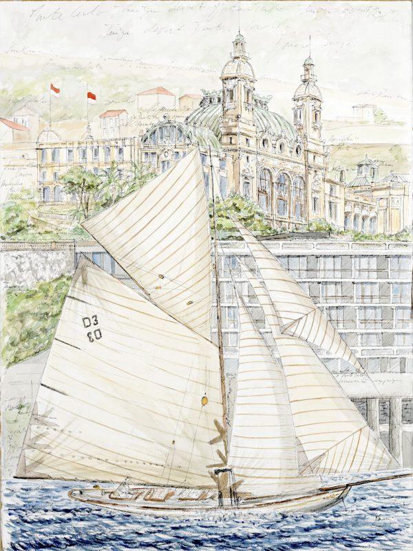 Fabrice Monaci, Le yacht Tuiga devant le casino de Monte-Carlo, plume et aquarelle sur papier Arches, 57 x 76 cm, 2014 (© F. Monaci)