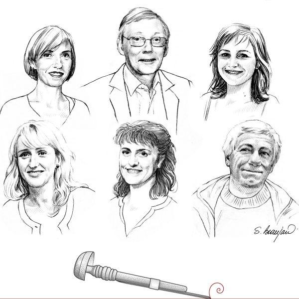 Portraits des nouveaux membres du bureau du conseil d'administration élus en juin 2016 (dessins, conception et mise en page de Sophie Beaujard)