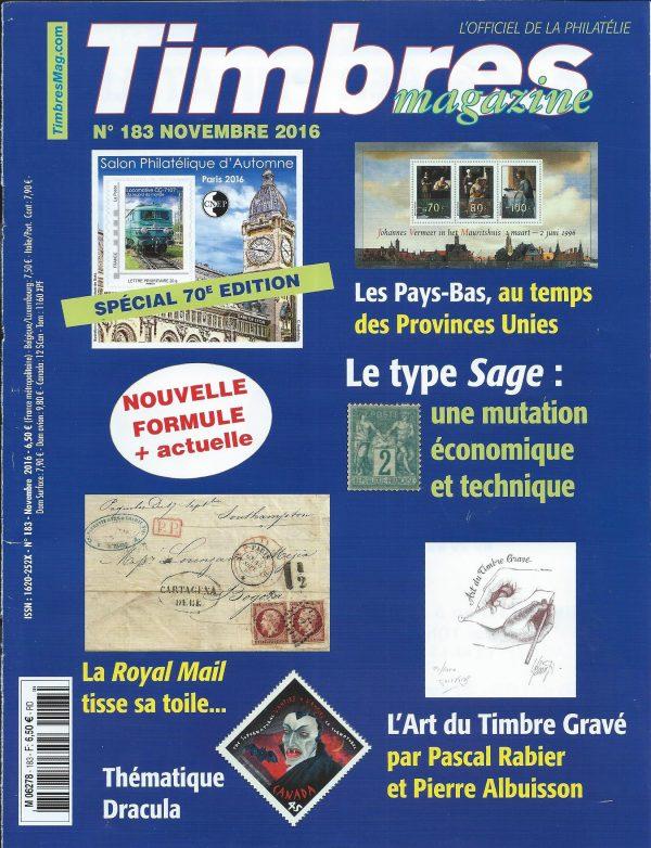 Timbres Magazine, couverture novembre 2016