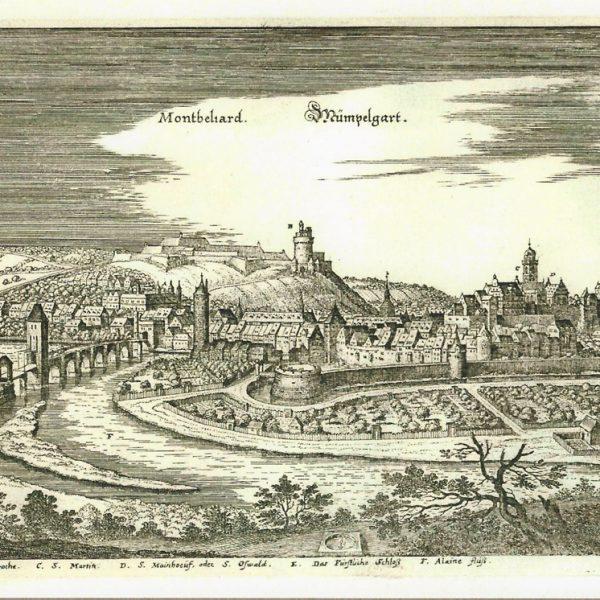 Antoine Iltis, plan de ville de Montbéliard, gravure sur cuivre, d'après une gravure ancienne