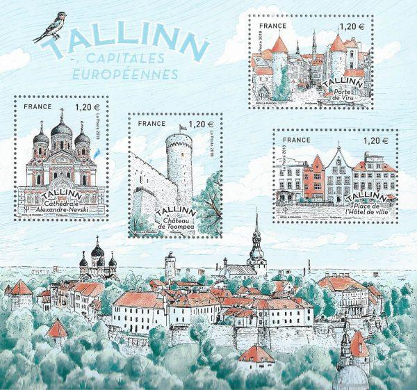 "France. ""Capitales européennes : Tallinn"", 2018 (création de Broll & Prascida, impression héliogravure) (© La Poste/Broll & Prascida)"