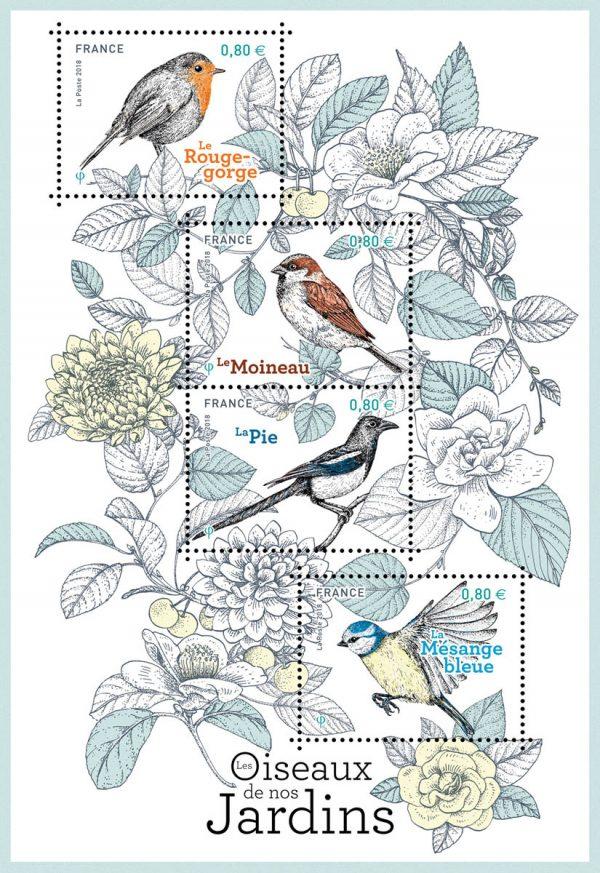 France. Les oiseaux de nos jardins : le rouge-gorge, le moineau, la pie et la mésange bleue, 2018 (création de Broll & Prascida, impression héliogravure) (© La Poste/Broll & Prascida)