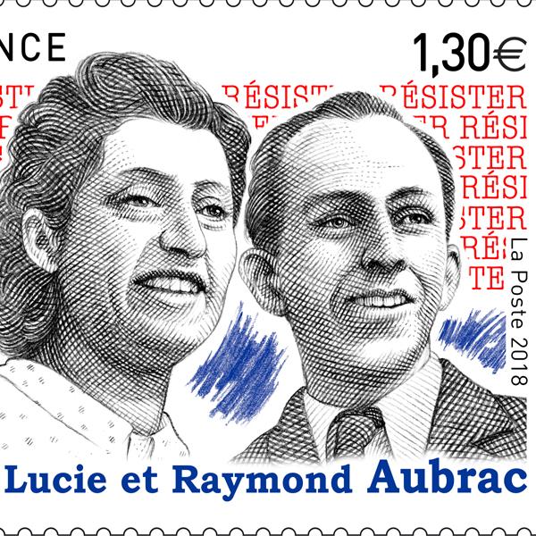 Timbre Lucie et Raymond Aubrac / Phil@poste - visuel d'après maquette