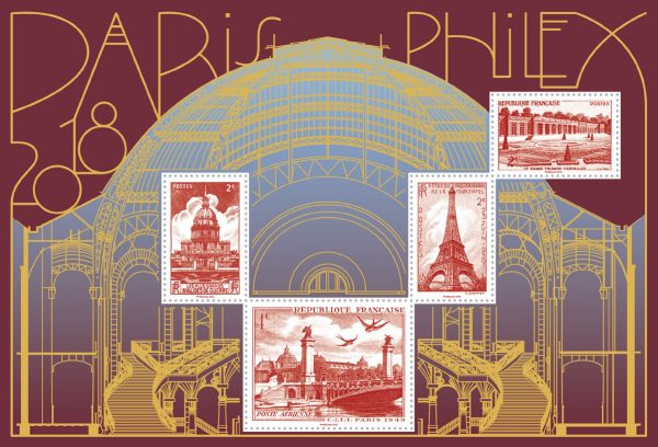 """France, """"bloc doré Paris-Philex 2018"""" (création de Sylvie Patte et Tanguy Besset, impression mixte, offset-taille-douce et dorure à chaud) (© La Poste/Patte et Besset)"""