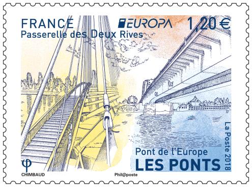 France. Europa, les Ponts, Strasbourg, 2018 (création de Sandrine Chimbaud, impression héliogravure) (© La Poste/S. Chimbaud)