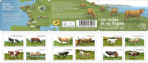 France. Les chèvres de nos régions, carnet de 12 timbres autoadhésifs, 2015 (création de Mathilde Laurent, crayons de couleur et peinture numérique, impression héliogravure).