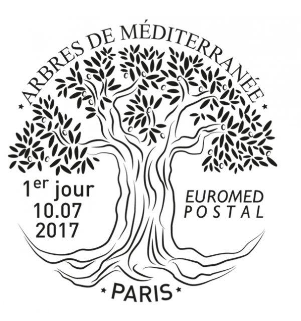 """Oblitération premier jour du timbre Euromed postal, """"Arbres de la Méditerranée"""",2017 (création de Sandrine Chimbaud). Prix de l'oblitération 2017 (©La Poste/S.Chimbaud)"""